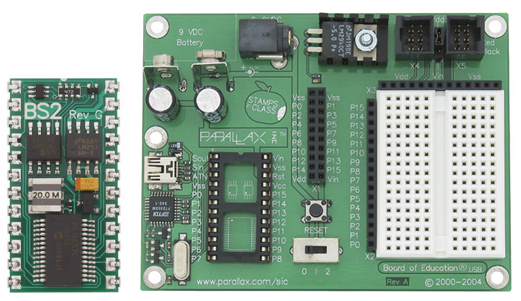 Basic Stamp 2 microcontroller and the mainboard