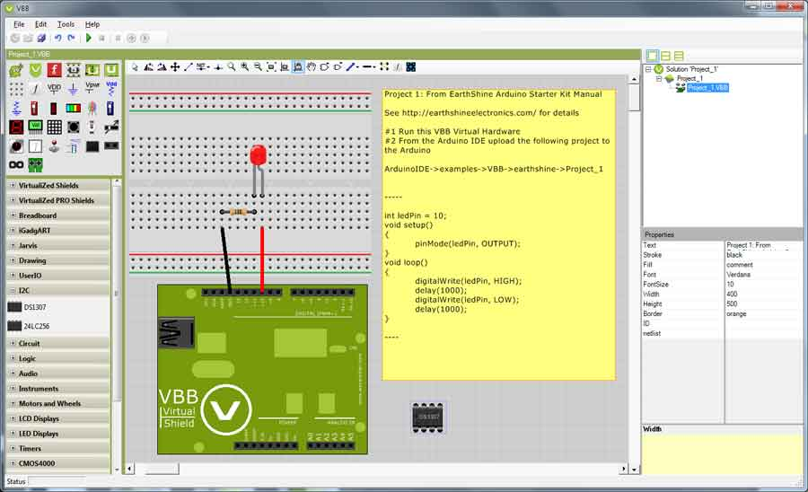 Virtual Breadboard work area