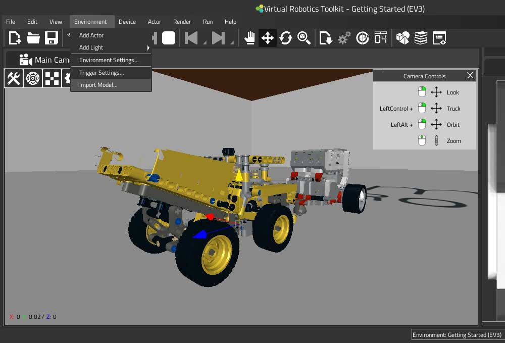 Importing a LEGO 3D model to VRT