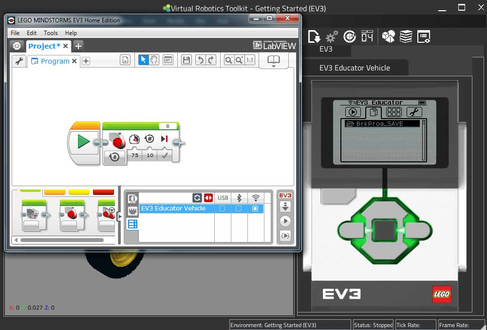 Uploading a file to the VRT virtual LEGO EV3 brick