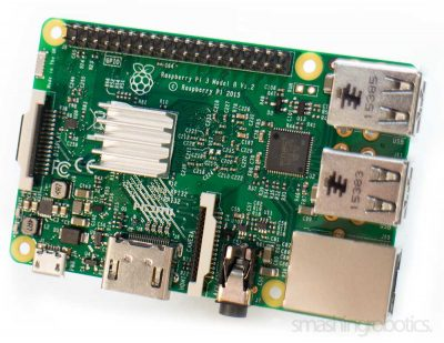 Raspberry Pi 3 with heat sink - top