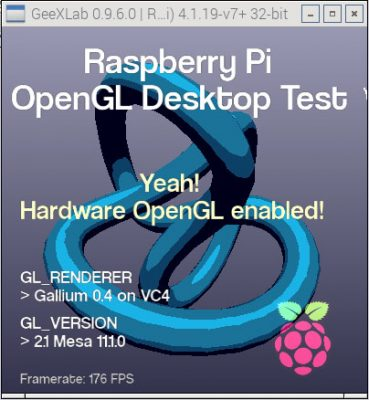 Raspberry Pi 3 GeeXLab test