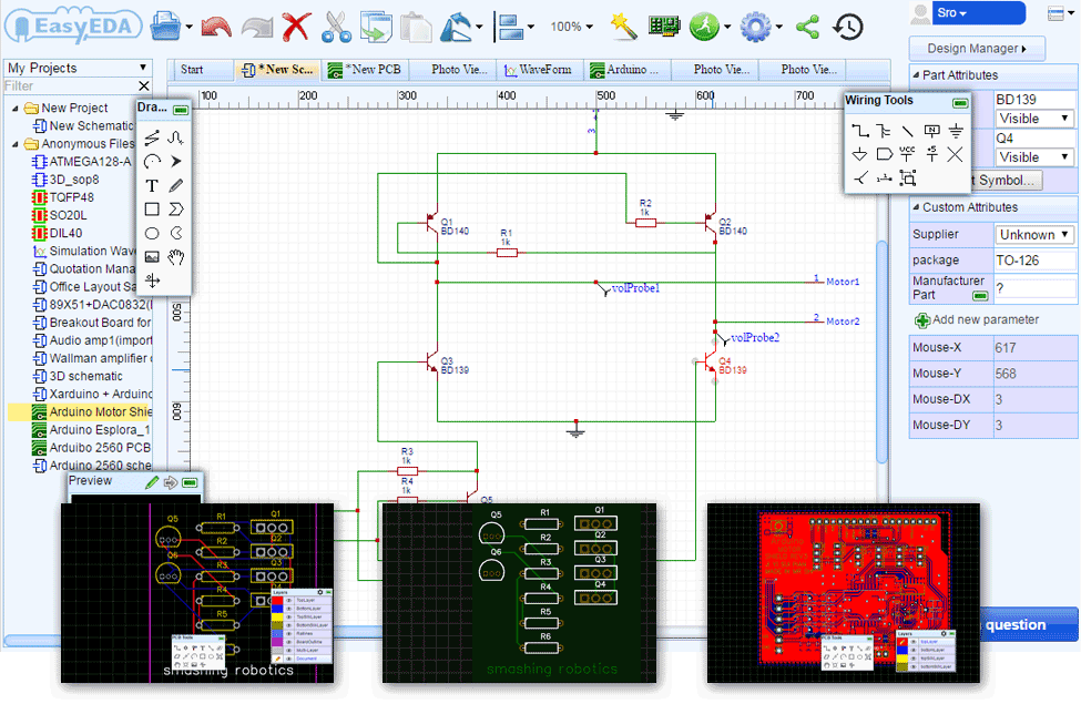 easyeda free web based pcb design and simulation tool smashing rh smashingrobotics com circuit diagram software download circuit diagram software mac