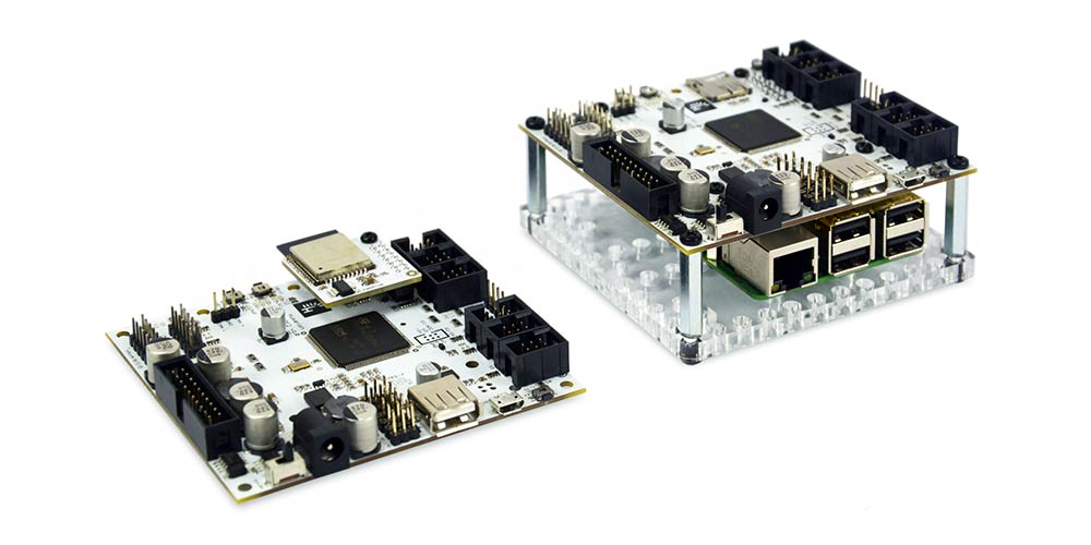 CORE2 and CORE2-ROS boards side by side