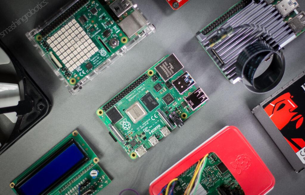 Raspberry Pi 4 board and peripherals